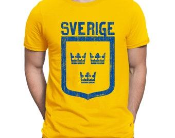 Mens T-Shirt SVERIGE Crowns SWEDEN World Cup 2018 Football Patriotic Retro