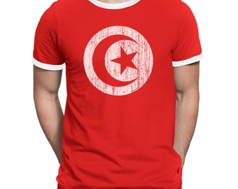 Mens T-Shirt TUNISIA Flag Emblem World Cup 2018 Football Patriotic Retro Africa