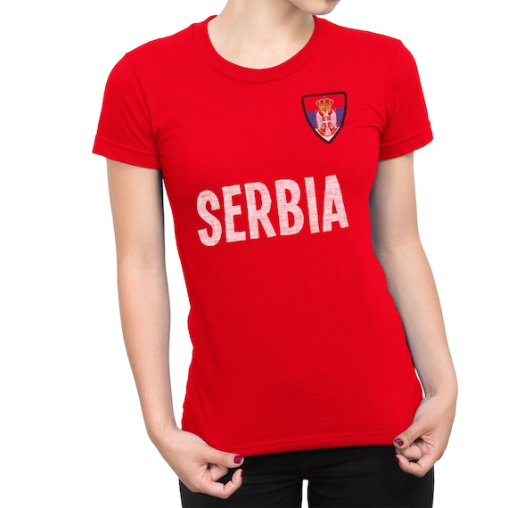 Womens SERBIA Country Name and Badge T-Shirt Football World  14c373ebe