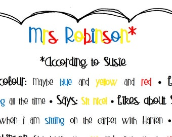 Thank You Teacher Print - Personalised