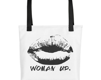 Woman Up - in Black - Tote bag