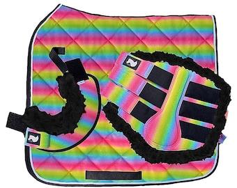 Rainbow Glitter Unicorn Horse Pony Saddle Pad Boots Tack Set