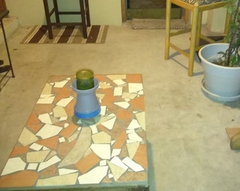 Upcycled, Hand Restored/Tiled Mosaic Coffee Table