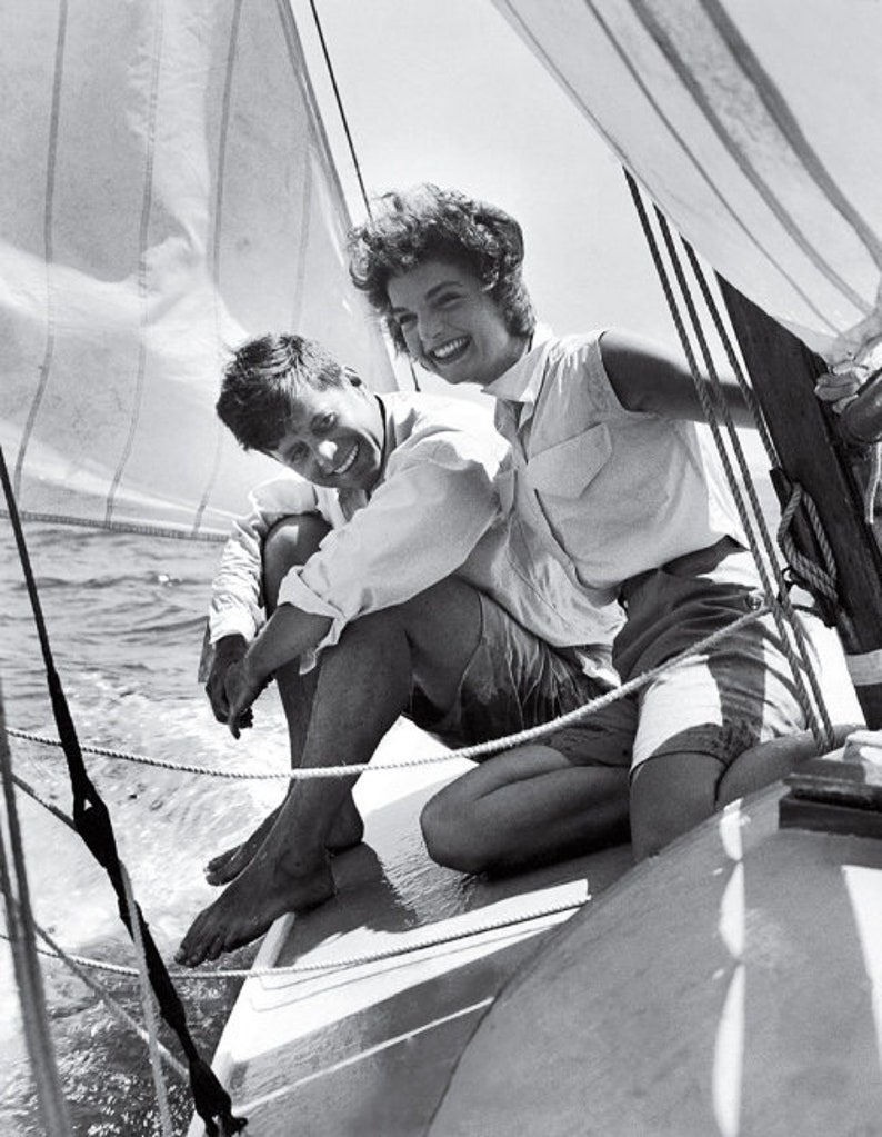 kennedy Kennedy and Jackie onassis sailing photo windblown photography picture print John F vintage photo fine art photo photograph
