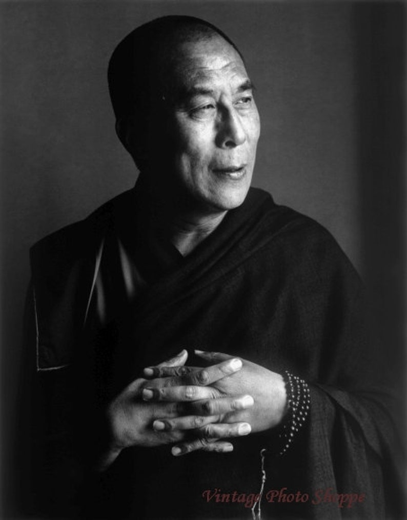 peace picture Black /& white photography fine art buddhism vintage Candid Dalai Llama photo zen photo print