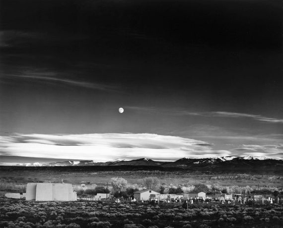 Ansel Adams Moonrise over New Mexico black /& white photograph fine art print