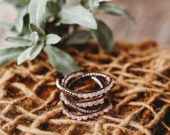 Pink and Silver Wrap bracelet on brown chord, Boho Bracelet, Beadwork Bracelet