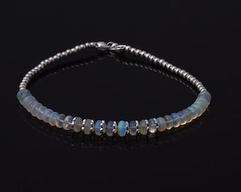 """7/"""" white Natural Fire Opal Bracelet Silver Jewelry"""