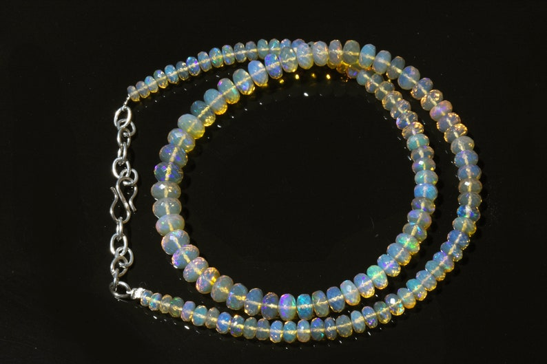 Op218 Welo Fire Opal 77 Cts 5-7 MM Natural Ethiopian Opal Faceted Rondelle Beads 16 Inches Strand
