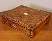 1 Turnbridge English Antique Burl String Inlaid Mother of Pearl Wood Lap Desk Writing Glass Ink Well Love Letters Ladies Writing Box