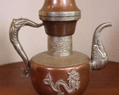 1 Dallah Lbrik Copper Tea Water Kettle Pot Dragon Vintage Antique Silver Brass Samovar Ewer Eastern Oriental Arabic