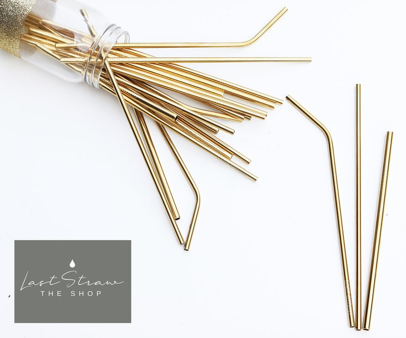 38a5c256ebc Gold Stainless Steel Straw Gold Metal Straws Party Straws   Etsy