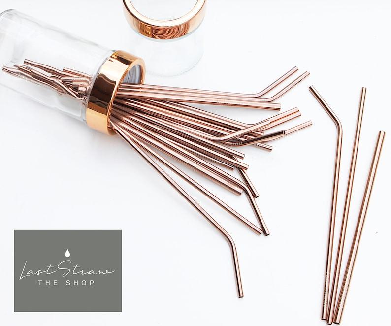 21cc30bf63b Rose Gold Stainless Steel Straw Rose Gold Metal Straws image ...