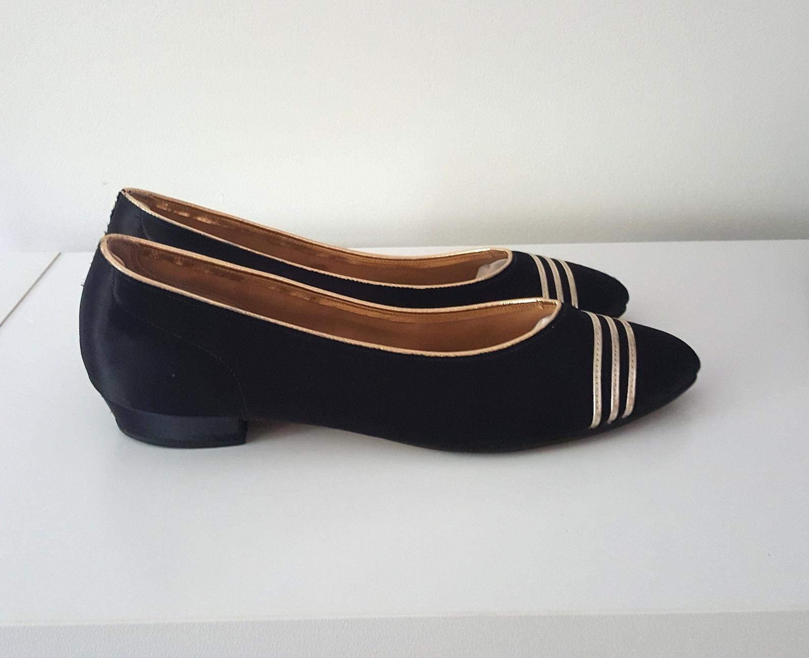 sale vintage 1980s i. magnin black and gold satin ballet flats, 80s vintage flats size 7 b
