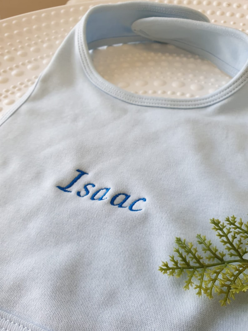 Custom bib embroidered with first name
