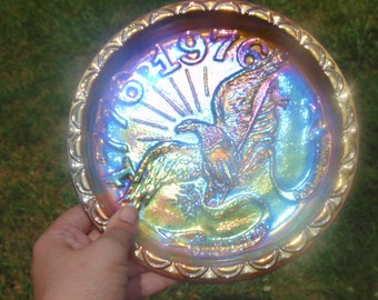 1776-1976 Indiana Glass Gold/Marigold/Teal Bicentennial Commemorative plate