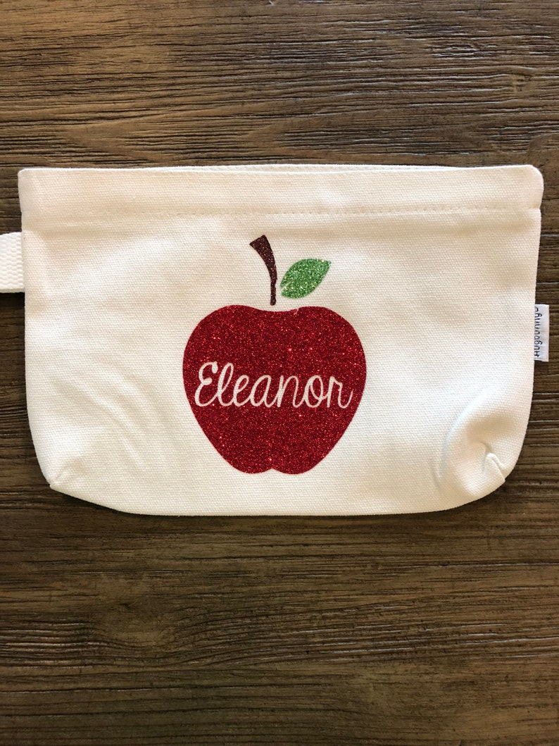 Custom School Supplies Personalized Pencil Pouch Glitter HTV Vinyl Back to School First Day of School HTX Bluebonnets