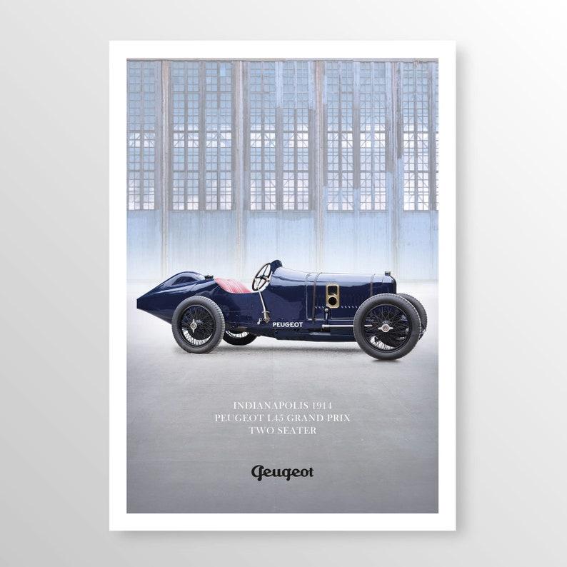motor car race car graphic poster wall art classic car car art memorabilia automobile Peugeot L45 car poster auto art