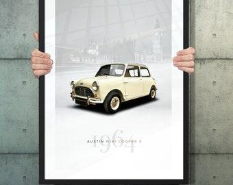 Automotive poster of Austin Mini Cooper S