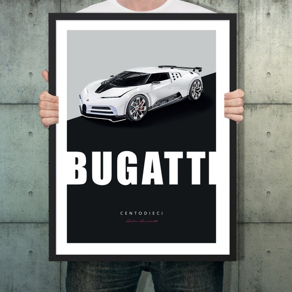 Bugatti Centodieci Car Poster Super Car Auto Art Wall Art Etsy