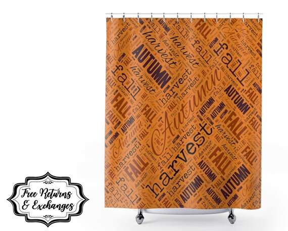Fall Autumn Word Art Shower Curtain