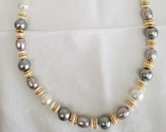 White & Grey Pearl Necklace