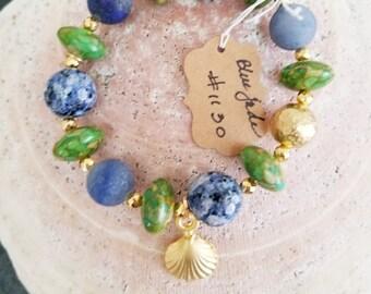 Blue Jade & Green Howlite Beaded Bracelet w/ Shell Charm