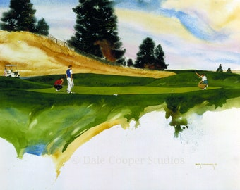 Golf Art, Golf Print, Golf Watercolor, Golf Wall Decor, Sports Print,