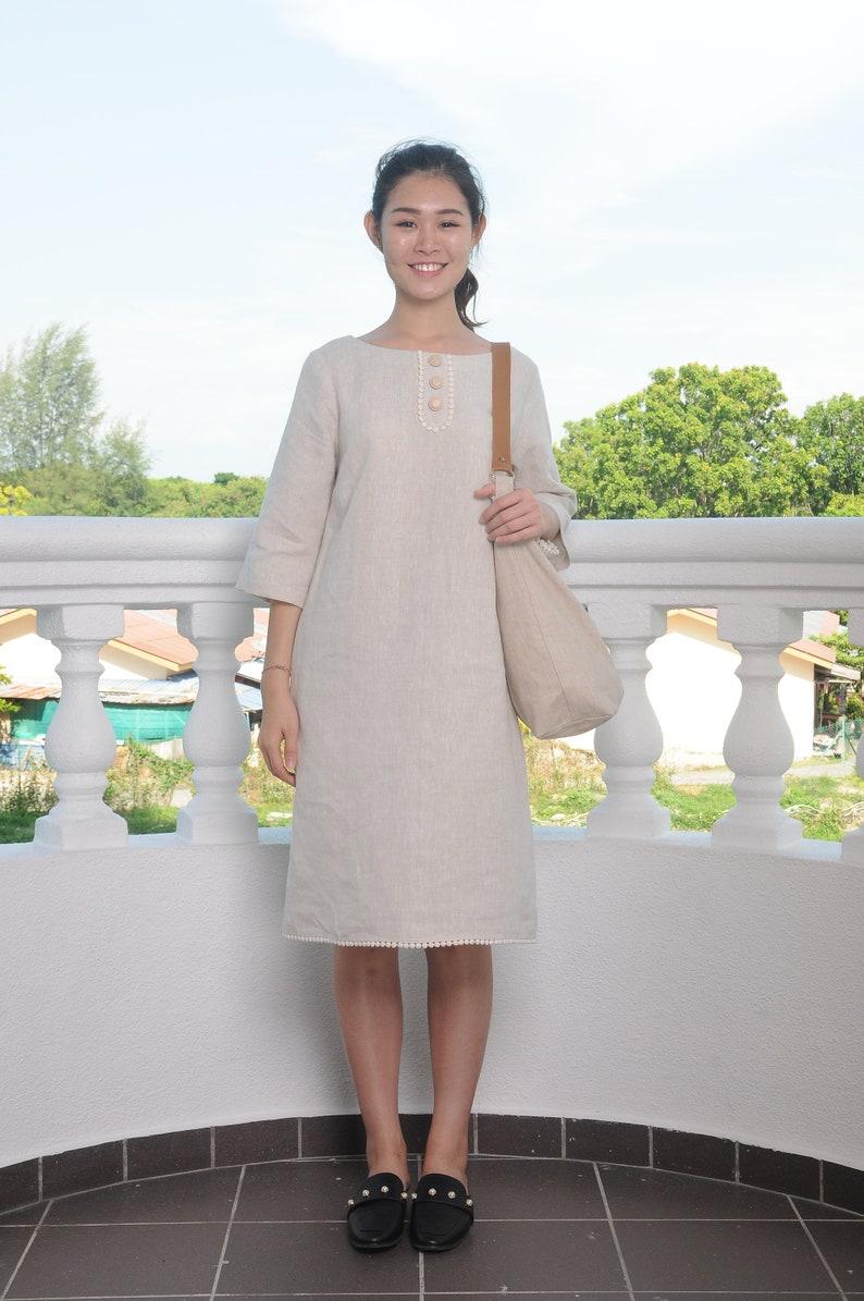 Lace Neckline  Linen Dress  34 SleevedEP-D661