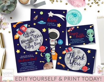 baby shower space kit corjl editable template space baby shower invitation space invite baby sprinkle invitation editprint today