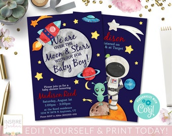 baby shower space corjl editable template space baby shower invitation space invite baby sprinkle invitation space editprint today
