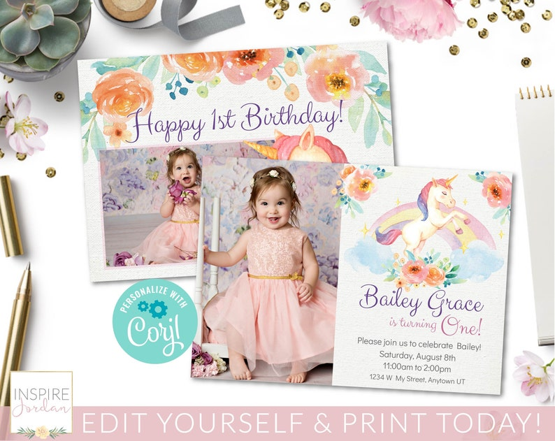 Unicorn Invitation Corjl Template Editable Invite