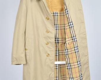 e5f922653c7 Men s Burberry s Vintage 90s Beige Nova Check Lining Retro Trench Coat  Jacket Size M