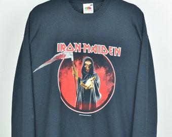 Men's 2003 Iron Maiden Vintage 00s Retro Black Rock Band Long Sleeve T Shirt Size XL