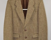 Men 39 s Harris Tweed Dunn Co Vintage 90s Retro Wool Heritage Brown Formal Casual Blazer Jacket Size M