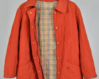 ff3a64c8094 Women s Burberry s London 90s Red Vintage Reversible Quilted Nova Check  Lining Retro Rare Authentic GirlsTop Jacket Size S   M