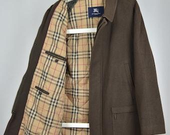 d54e905a43d7 Men's Burberry London Retro 00s Wool Brown Nova Check Lining Collar Coat  Jacket Size L
