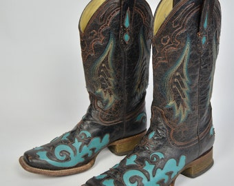 a0c6327855dd Men s Corral Vintage Cowboy Real Brown Leather High Wing Aztec Ethno  Indians American Texas Boots Size US 9