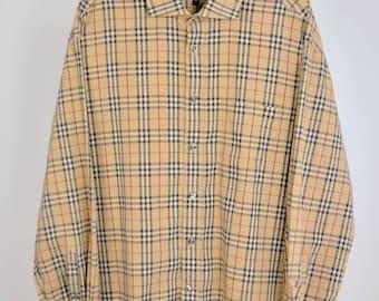 7778e8b44095 Men's Burberry London Nova Check Classic Plaid Beige Genuine Shirt Size 44 L