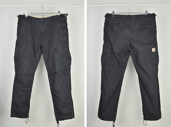 Men's Carhartt Aviation Black Cotton Cargo Pants S