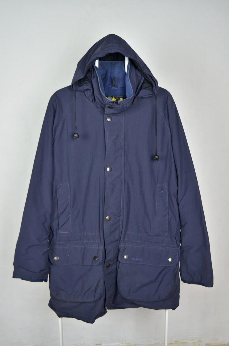 8442ac11ba3 Men's Barbour 90s Vintage A952 Cotton Jacket Hunting Shooting Heritage  Parka Hooded Navy Men's