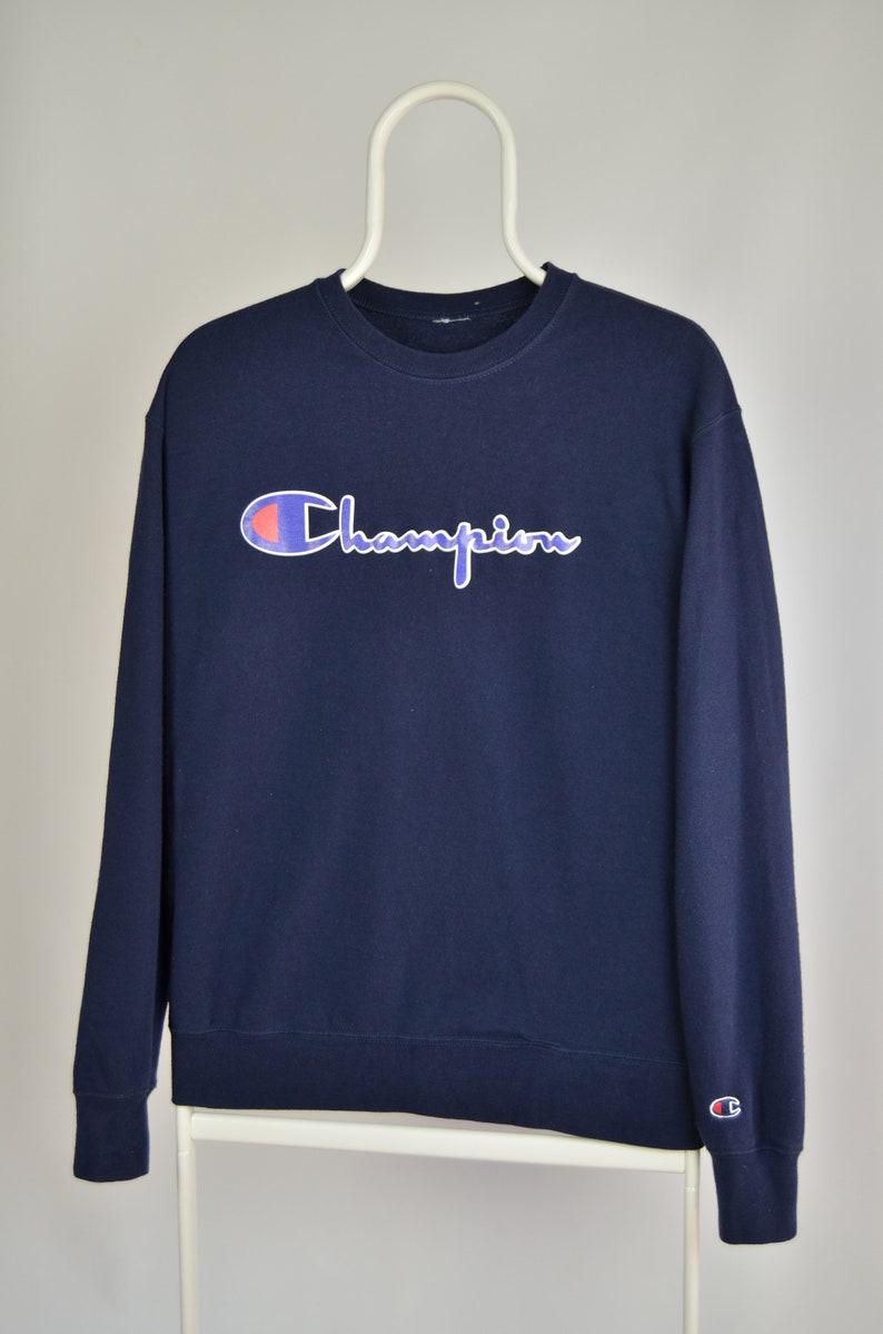 Men/'s Champion Vintage Big Logo Navy Sleeve Small Logo Sport Athletic Crew Neck Cotton Lightweight Sweatshirt Size S M