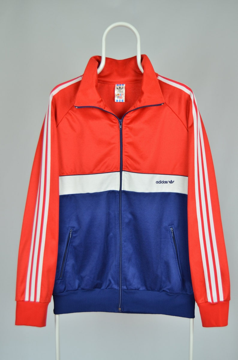 Men's Adidas Originals Vintage 80s 90s Rare Made in West Germany Red Navy Blue White Track Suit Top Jacket Size XL XXL