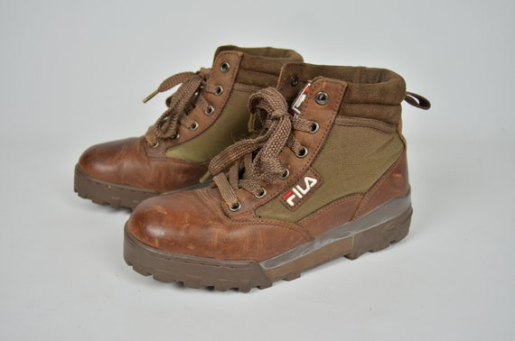 Fila Vintage 90s Brown Leather Hiking Retro High Top Boots Shoes Footwear Women's Size 38 UK 4.5 US 5.5