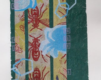 """Abstract Bee Print titled """"The Hive"""""""