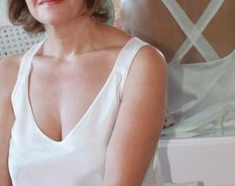 Bridal nightgown/nightgown VENEZIA white color cut to bias