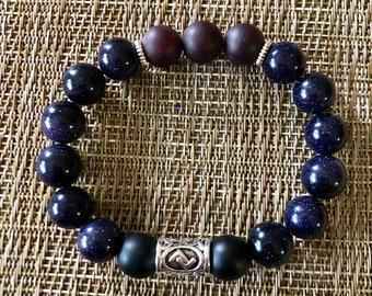 Men's or Woman's Bracelet - Goldstone, Garnet and Onyx