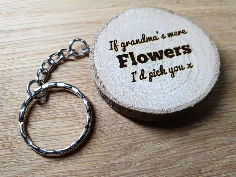 If grandma's were flowers- Personalised Engraved Wooden Keyring Gift - With  FREE name engraving on reverse - Free UK Postage - Personalised