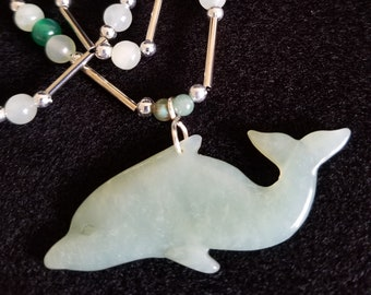 sea life jewelry jade pendant ocean lover gift wire wrapped pendant silver wire wrap Sterling silver dolphin necklace gemstone dolphin