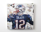 Tom Brady Print on Canvas (12 inches x 12 inches)